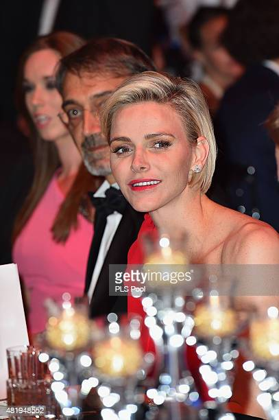 Princess Charlene of Monaco attends a dinner during the Monaco Red Cross Gala on July 25 2015 in MonteCarlo Monaco
