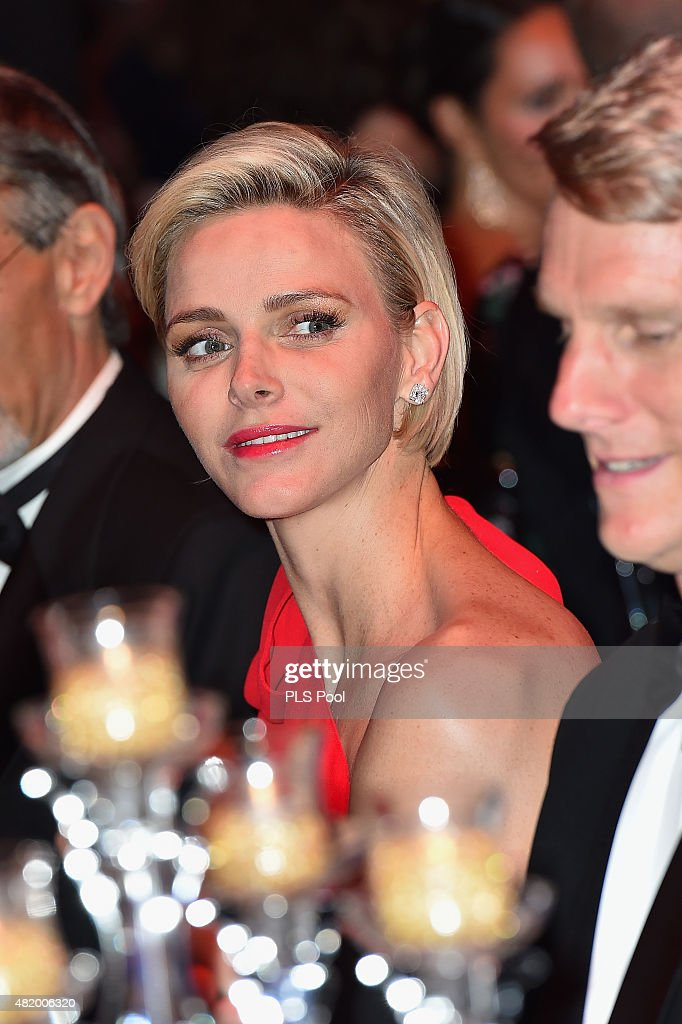 Princess Charlene of Monaco attends a dinner during the Monaco Red Cross Gala on July 25, 2015 in Monte-Carlo, Monaco.