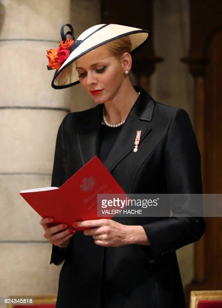 Princess Charlene of Monaco attends a mass at the Saint Nicholas cathedral during the celebrations marking Monaco's National Day, on November 19,...