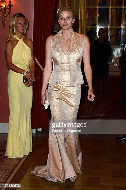 Princess Charlene of Monaco attends a private dinner on the eve of the wedding of Princess Madeleine and Christopher O'Neill hosted by King Carl...