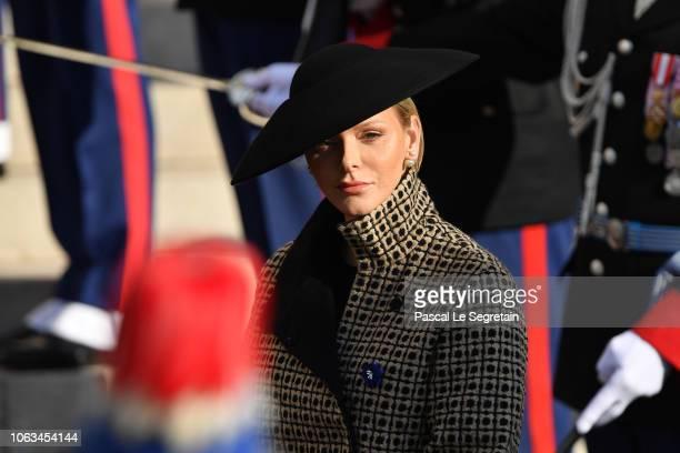 Princess Charlene of Monaco attends Monaco National Day Celebrations on November 19 2018 in MonteCarlo Monaco