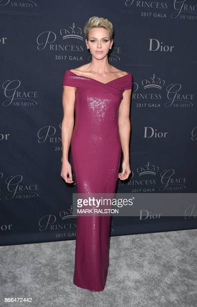 Princess Charlene of Monaco attends the 2017 Princess Grace Awards Gala at The Beverly Hilton Hotel Beverly Hills California on October 25 2017 / AFP...