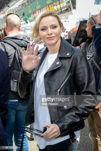Princess Charlene of Monaco attends the 24 Hours of Le Mans race on June 15 2019 in Le Mans France