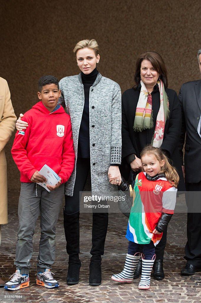 Princess Charlene of Monaco attends the 6th Sainte Devote Rugby Tournament at Stade Louis II on February 27, 2016 in Monaco, Monaco.