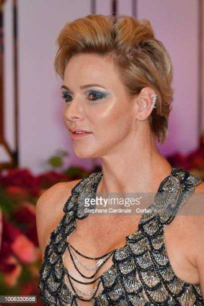Princess Charlene of Monaco attends the 70th Monaco Red Cross Ball Gala on July 27 2018 in MonteCarlo Monaco