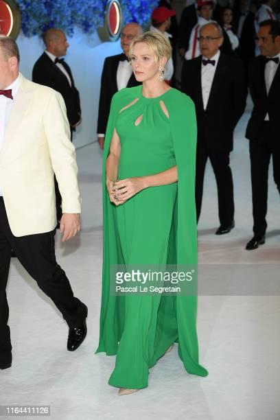 Princess Charlene of Monaco attends the 71th Monaco Red Cross Ball Gala on July 26 2019 in Monaco Monaco