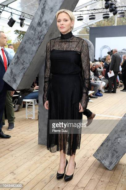 Princess Charlene of Monaco attends the Akris show as part of the Paris Fashion Week Womenswear Spring/Summer 2019 on September 30 2018 in Paris...