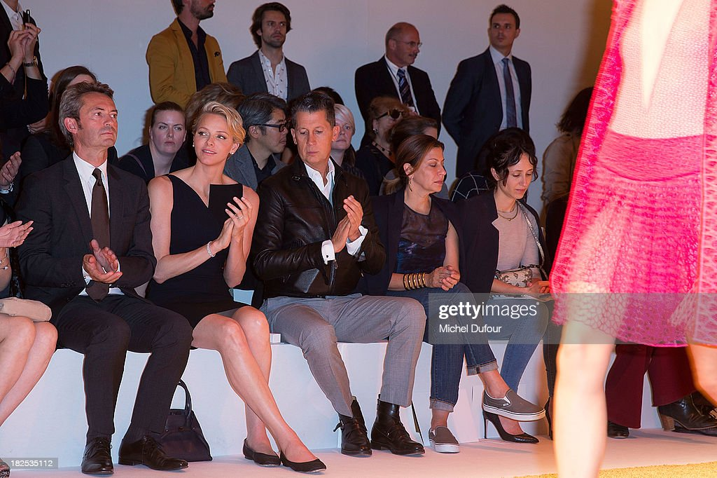 Princess Charlene of Monaco attends the Akris show as part of the Paris Fashion Week Womenswear Spring/Summer 2014 on September 29, 2013 in Paris, France.