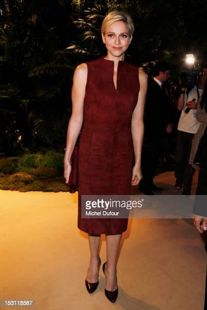 Princess Charlene of Monaco attends the Akris Spring / Summer 2013 show as part of Paris Fashion Week at Palais de Chaillot on September 30, 2012 in...