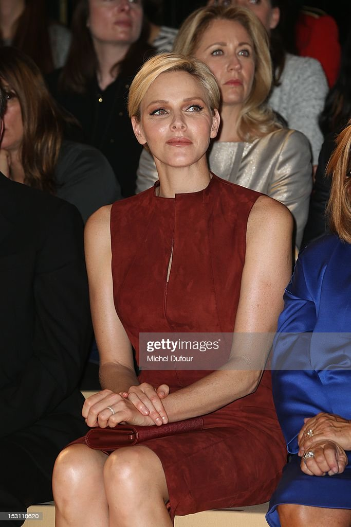 Princess Charlene of Monaco attends the Akris Spring / Summer 2013 show as part of Paris Fashion Week at Palais de Chaillot on September 30, 2012 in Paris, France.