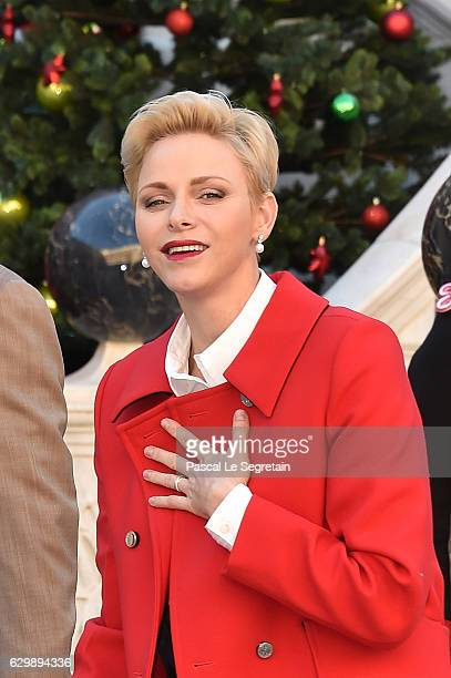 Princess Charlene Of Monaco attends the annual Christmas gifts distribution at Monaco Palace on December 14 2016 in Monaco Monaco