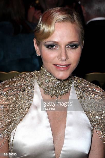 Princess Charlene of Monaco attends the 'Bal De La Rose Du Rocher' in aid of the Fondation Princess Grace on the 150th Anniversary of the SBM at...