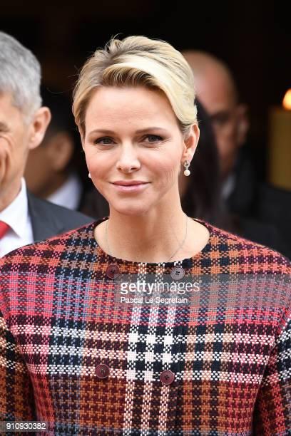Princess Charlene of Monaco attends the celebration of the SainteDevote on January 27 2018 in Monaco Monaco