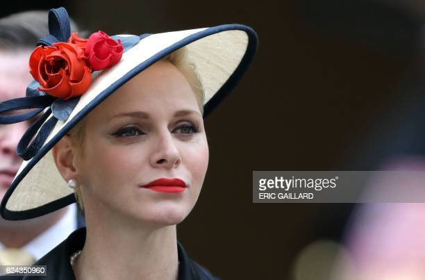 Princess Charlene of Monaco attends the celebrations marking Monaco's National Day at the Monaco Palace on November 19 2016 / AFP / POOL / ERIC...