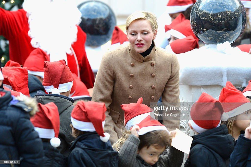 Princess Charlene of Monaco attends the Christmas Celebration For Monaco Children on December 12, 2012 in Monaco, Monaco.