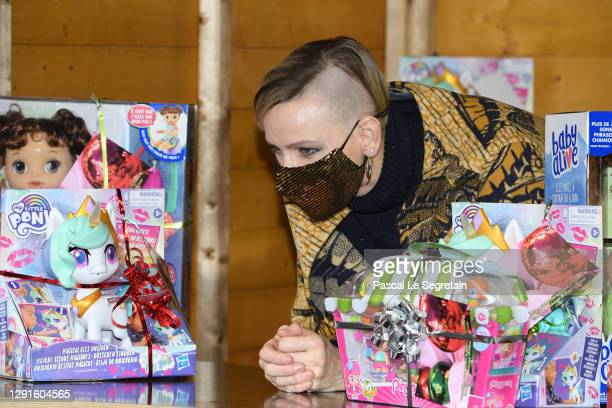 Princess Charlene of Monaco attends the Christmas gift distribution on December 16, 2020 in Monaco, Monaco.