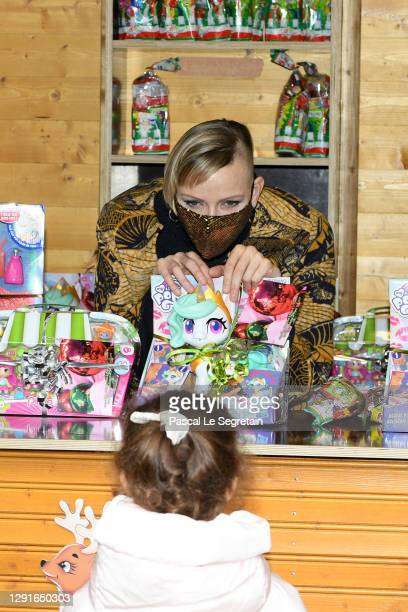 Princess Charlene of Monaco attends the Christmas gift distribution on December 16, 2020 in Monaco, Monaco.