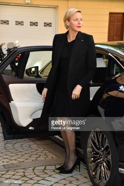 Princess Charlene of Monaco attends the Christmas Gifts Distribution on November 17 2018 in MonteCarlo Monaco