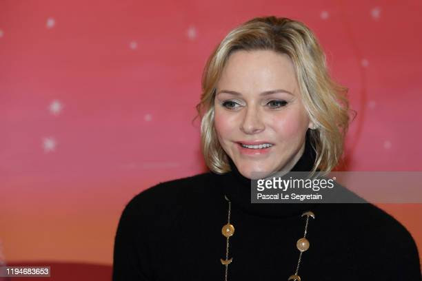 Princess Charlene Of Monaco attends the Christmas Gifts Distribution At Monaco Palace on December 18, 2019 in Monaco, Monaco.