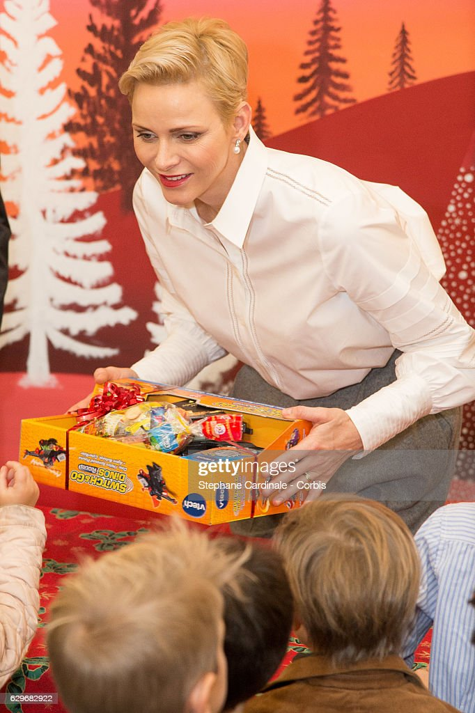 Princess Charlene of Monaco attends the Christmas gifts distribution at Monaco Palace on December 14, 2016 in Monaco, Monaco.