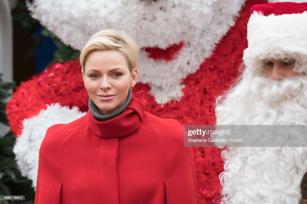Princess Charlene of Monaco attends the Christmas Gifts Distribution on December 20, 2017 in Monaco, Monaco.