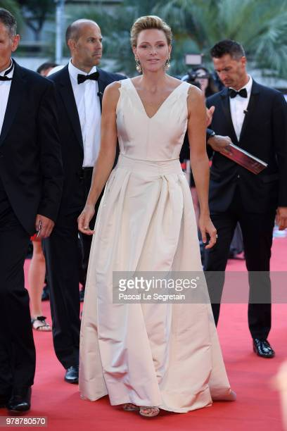 Princess Charlene of Monaco attends the closing ceremony and Golden Nymph awards of the 58th Monte Carlo TV Festival on June 19 2018 in MonteCarlo...