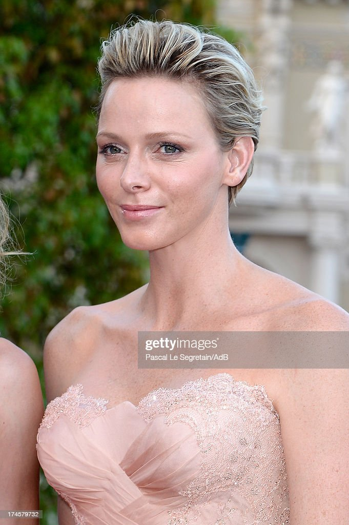Princess Charlene of Monaco attends the cocktail at the 'Love Ball' hosted by Natalia Vodianova in support of The Naked Heart Foundation at Opera Garnier on July 27, 2013 in Monaco, Monaco.