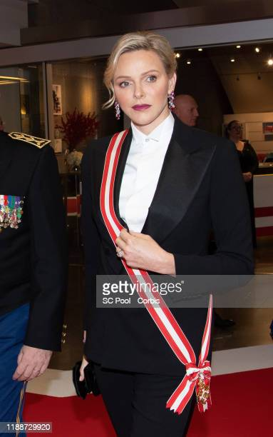 Princess Charlene of Monaco attends the gala at the Opera during Monaco National Day celebrations on November 19 2019 in MonteCarlo Monaco