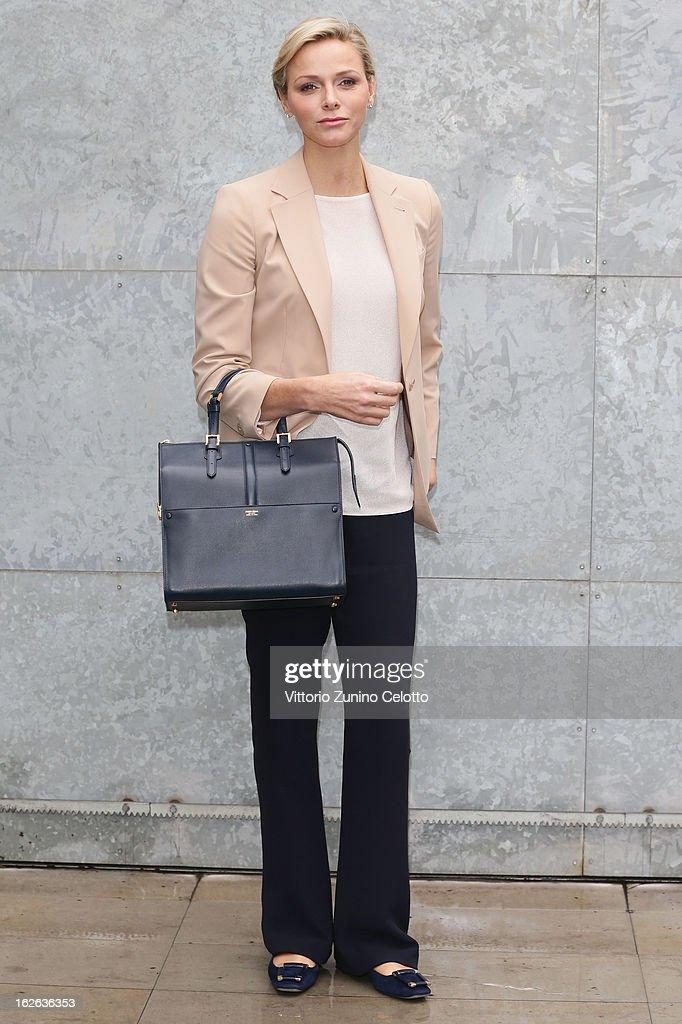 Princess Charlene of Monaco attends the Giorgio Armani fashion show during Milan Fashion Week Womenswear Fall/Winter 2013/14 on February 25, 2013 in Milan, Italy.