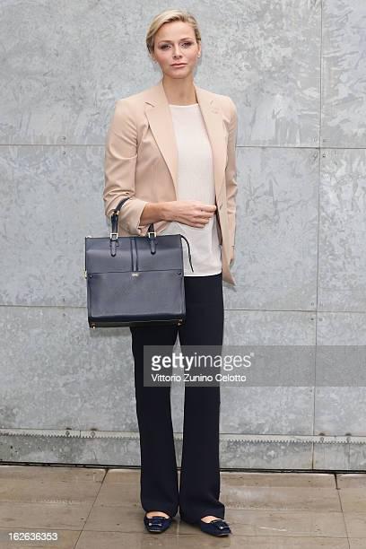 Princess Charlene of Monaco attends the Giorgio Armani fashion show during Milan Fashion Week Womenswear Fall/Winter 2013/14 on February 25 2013 in...