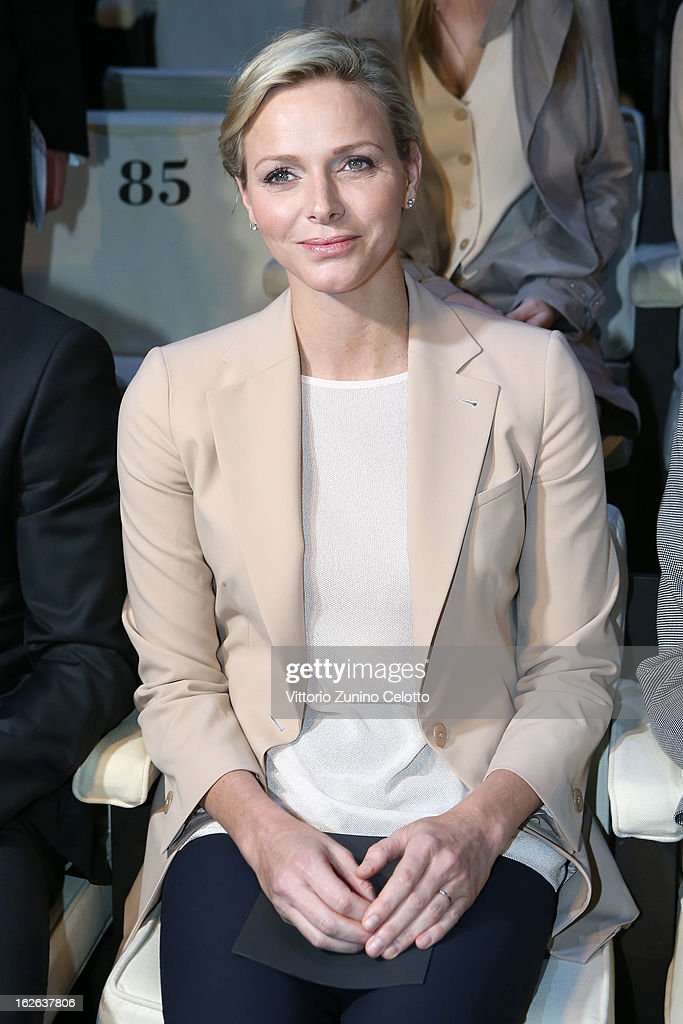 Princess Charlene of Monaco attends the Giorgio Armani fashion show as part of Milan Fashion Week Womenswear Fall/Winter 2013/14 on February 25, 2014 in Milan, Italy.