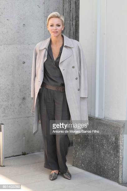 Princess Charlene of Monaco attends the Giorgio Armani show during Milan Fashion Week Spring/Summer 2018 on September 22 2017 in Milan Italy