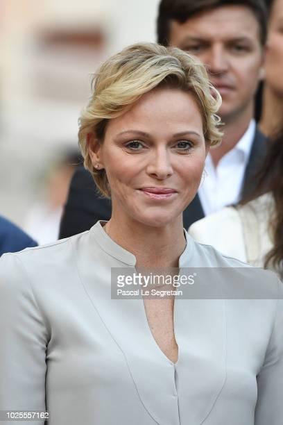 Princess Charlene of Monaco attends the Monaco annual picnic on August 31 2018 in Monaco Monaco
