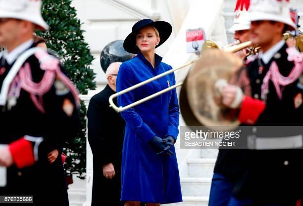 Princess Charlene of Monaco attends the Monaco National Day celebrations at the Monaco Palace on November 19 2017 / AFP PHOTO / POOL / Sebastien...
