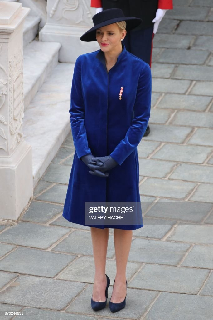 Princess Charlene of Monaco attends the Monaco National Day celebrations at the Monaco Palace on November 19, 2017. /