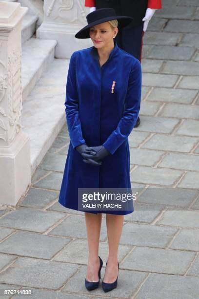 Princess Charlene of Monaco attends the Monaco National Day celebrations at the Monaco Palace on November 19 2017 / AFP PHOTO / POOL / VALERY HACHE