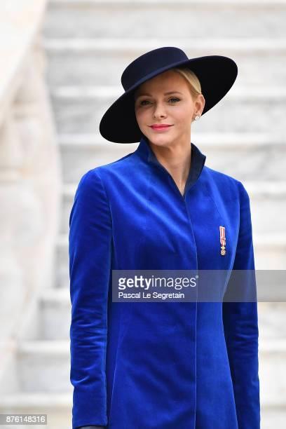 Princess Charlene of Monaco attends the Monaco National day celebrations in Monaco Palace courtyard on November 19 2017 in Monaco Monaco