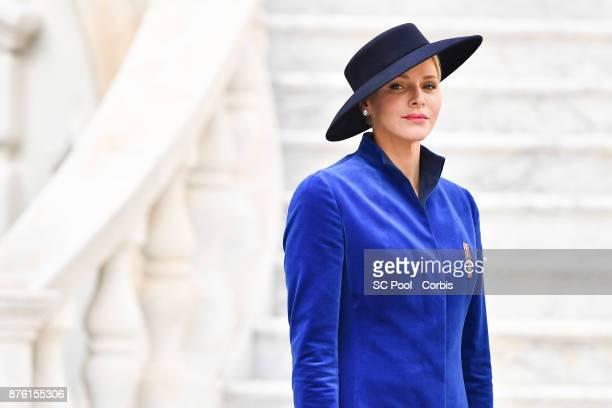 Princess Charlene of Monaco attends the Monaco National day celebrations in Monaco Palace courtyard on November 19 2017 in Monaco Monaco Photo by...