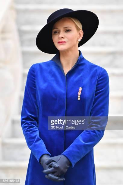 Princess Charlene of Monaco attends the Monaco National day celebrations in Monaco Palace courtyard on November 19, 2017 in Monaco, Monaco. Photo by...