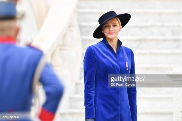 Princess Charlene of Monaco attends the Monaco National day celebrations in Monaco Palace courtyard on November 19 2017 in Monaco Monaco Photo by...