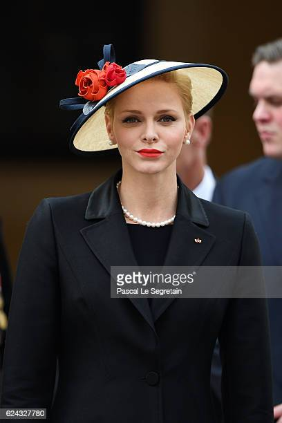 Princess Charlene of Monaco attends the Monaco National Day Celebrations in the Monaco Palace Courtyard on November 19 2016 in Monaco Monaco