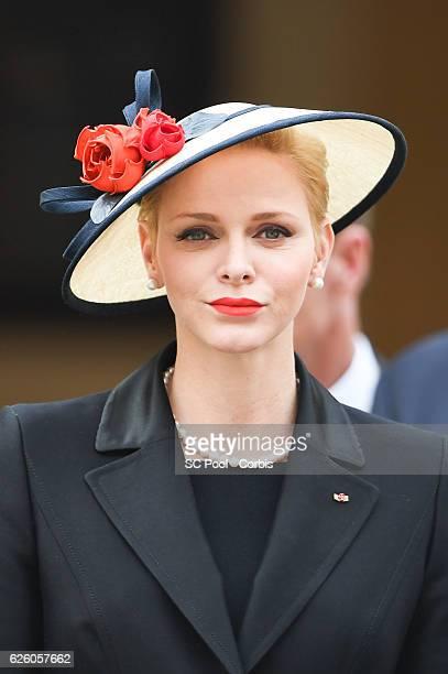 Princess Charlene of Monaco attends the Monaco National Day Celebrations in the Monaco Palace Courtyard on November 19 2016 in Monaco Monaco