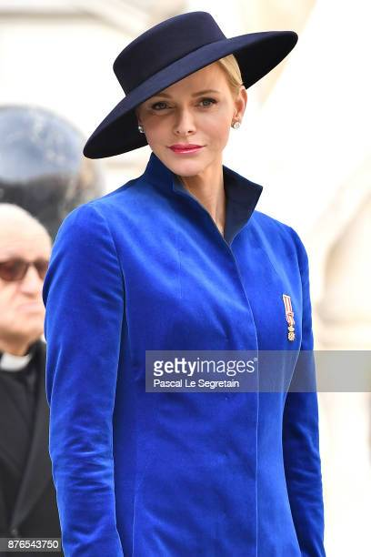 Princess Charlene of Monaco attends the Monaco National day celebrations in the Monaco Palace courtyard on November 19, 2017 in Monaco, Monaco.