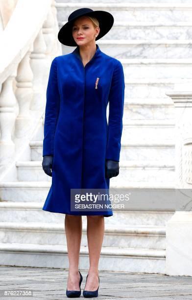 Princess Charlene of Monaco attends the Monaco National Day Celebrations on November 19 2017 in Monaco / AFP PHOTO / POOL / Sebastien NOGIER