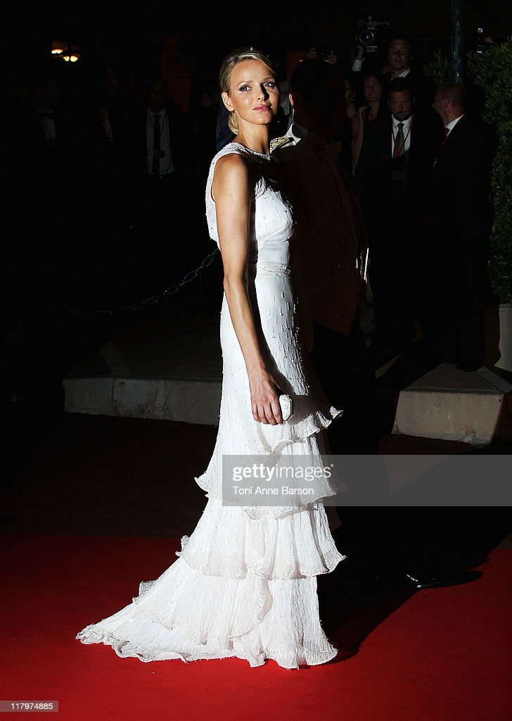 Princess Charlene of Monaco attends the official dinner and firework celebrations at the Opera Terraces after the religious ceremony for the Royal Wedding of Prince Albert II of Monaco and Princess Charlene of Monaco on July 2, 2011 in Monaco.
