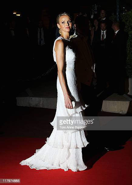 Princess Charlene of Monaco attends the official dinner and firework celebrations at the Opera Terraces after the religious ceremony for the Royal...