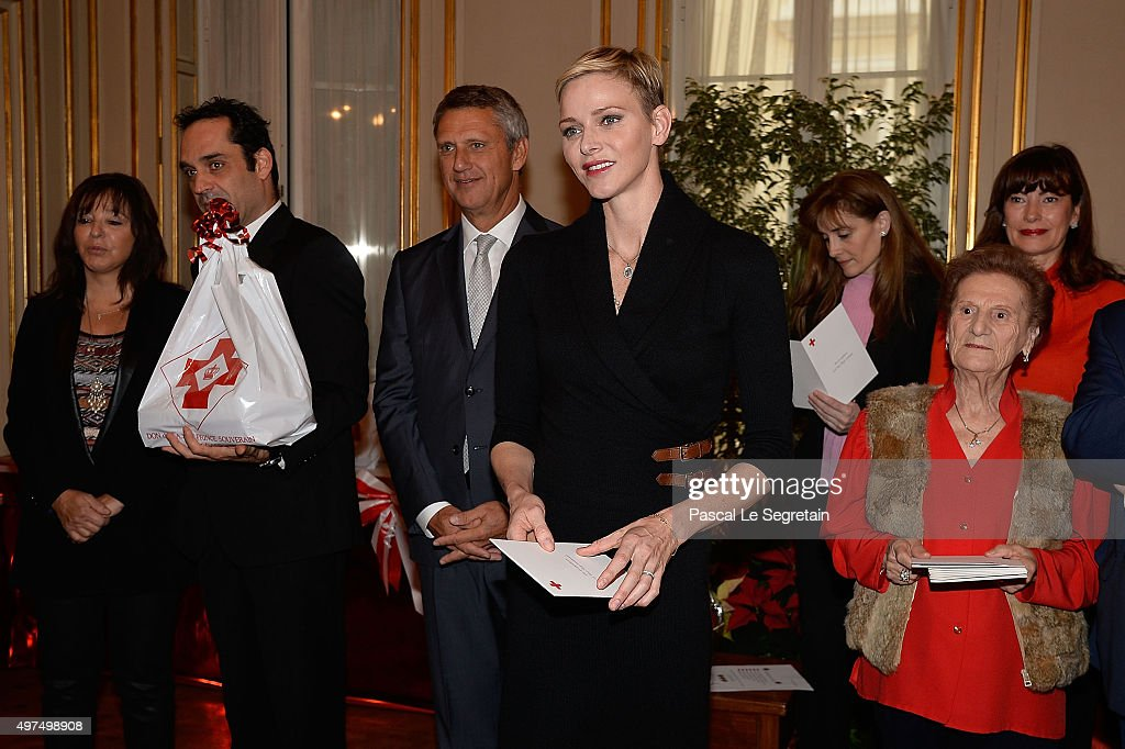 Princess Charlene Of Monaco Attends Parcels Distribution At Monaco Red Cross Headquarters : News Photo