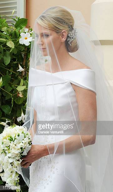 Princess Charlene of Monaco attends the religious ceremony of the Royal Wedding of Prince Albert II of Monaco to Princess Charlene of Monaco in the...