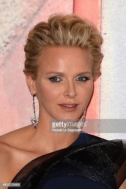 Princess Charlene of Monaco attends the Rose Ball 2014 in aid of the Princess Grace Foundation at Sporting MonteCarlo on March 29 2014 in MonteCarlo...