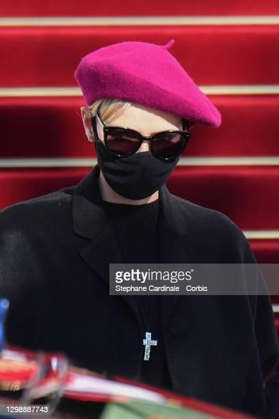 Princess Charlene of Monaco attends the Sainte Devote Ceremony at the Monaco Cathedral on January 27, 2021 in Monaco, Monaco. Sainte devote is the...